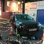 Picture of car crash in a simulated collision