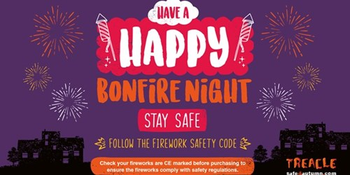 "Image of GMFRS ""happy bonfire night - Stay Safe"" message"